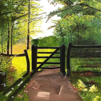 Box Hill Surrey – Gate to Meadow – Oil Painting – Maggie Jukes Art Gallery