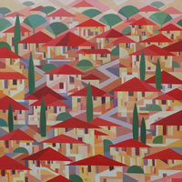 Contemporary Art – Town Houses Village – Fred Masters – Abstract Artist – Paintings in Acrylic and Oil – Surrey Art Gallery