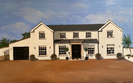 White House Commissioned Oil Painting - Purley Surrey-based Artist Maggie Jukes