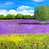 Lavender and Wild Flower Fields Purley Surrey – Landscape Oil Painting – Maggie Jukes