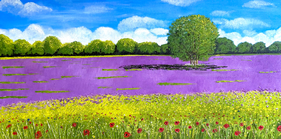 Wild Flowers and Lavender - Mayfair Lavender Fields Purley Surrey - Landscape Oil Painting - Maggie Jukes