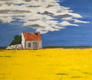 Yellow Fields and Cottage - Landscape Oil Painting - Maggie Jukes