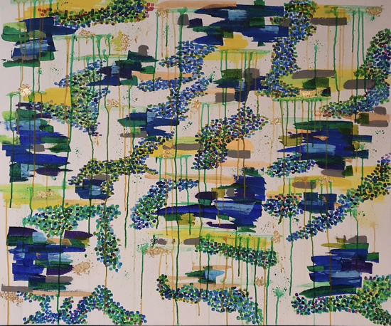 Abstract Art - Byfleet Surrey Artist Charlotte Amison - Water Lily Commission