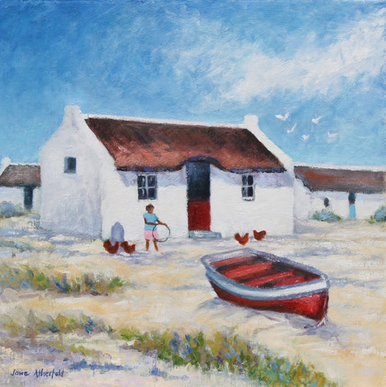 Arniston Fishermen's Cottages Oil Painting - South Africa Art Gallery