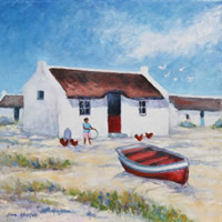 Arniston Fishermen's Cottages Painting – Western Cape – South Africa Art Gallery