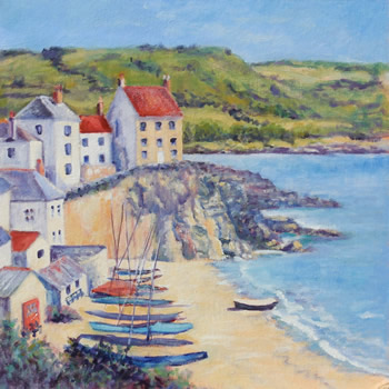 Cawsands Beach - Cornwall Landscape Painting by Weybridge Surrey Artist Jane Atherfold