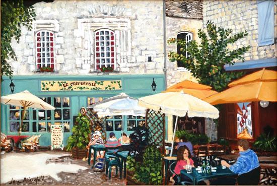 Dordogne Martell Village Square - France Art Gallery - Oil Painting by Weybridge Surrey Artist Jane Atherfold