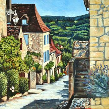 Dordogne Village Landscape Painting - France Art Gallery of Weybridge Surrey Artist Jane Atherfold