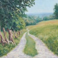Farm in Llangollen Wales Oil Painting – Landscape Art – Weybridge Surrey Artist Jane Atherfold