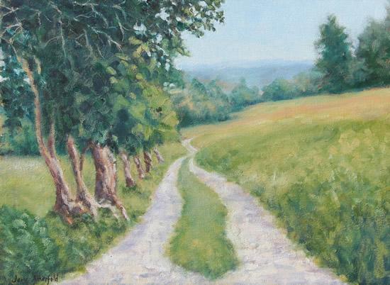 Farm in Llangollen Wales Oil Painting - Landscape Art - Weybridge Surrey Artist Jane Atherfold