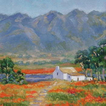 Farmers Cottage -South Africa Landscape Painting by Guildford Art Society member Jane Atherfold