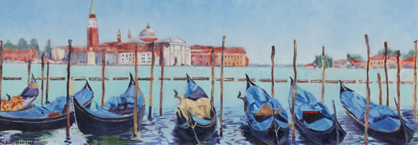 Gondolas and San Giorgio Maggiore Venice Oil Painting - Italy Art Series - Painting by Guildford Art Society Member Jane Atherfold