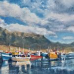 Hout Bay Fishing Boats Cape Town Billowing Clouds Oil Painting – South Africa Art Gallery – Weybridge Surrey Artist Jane Atherfold