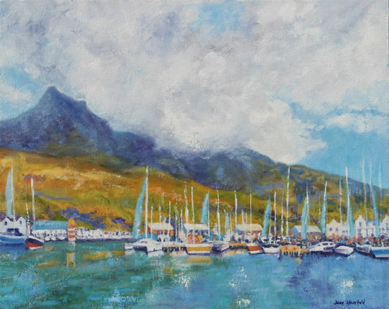 Hout Bay Marina Cape Town - South Africa Art Gallery - Oil Painting by Weybridge Surrey Artist Jane Atherfold