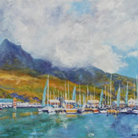 Hout Bay Marina Cape Town – South Africa Art Gallery – Oil Painting by Weybridge Surrey Artist Jane Atherfold