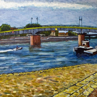 Bridge at Arles – River Rhône South of France – Fellow of the Chartered Society of Designers – Artist Richard Waldron Oil Painting –
