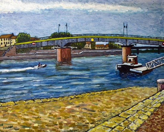 Bridge at Arles - River Rhône South of France - Fellow of the Chartered Society of Designers - Artist Richard Waldron Oil Painting -