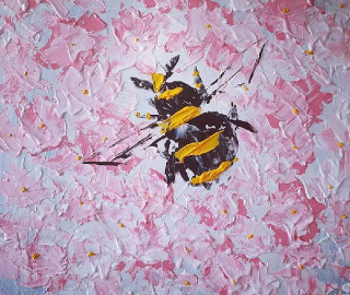 Bumble Bee and Tree Blossom - Contemporary Artist Shanon King