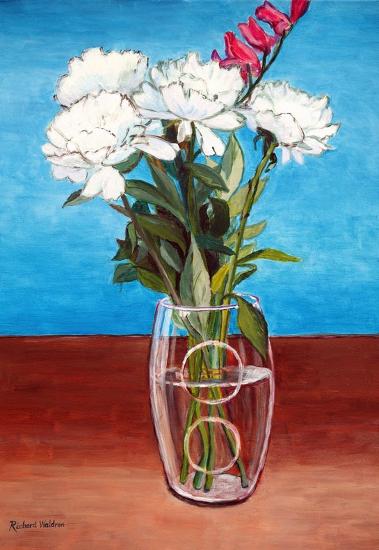 Camellias in Glass Vase - Biggin Hill Kent Artist Richard Waldron