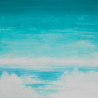 Clouds Sky Sea – Blue and Green Mists – Paint Stone and Wood Artist Simon Oliver
