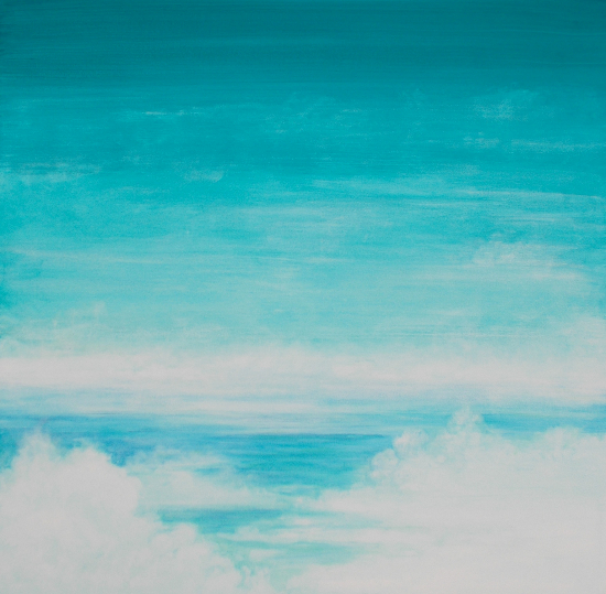 Clouds Sky Sea - Blue and Green Mists - Paint Stone and Wood Artist Simon Oliver
