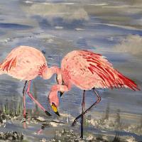 Flamingoes – Wildlife Acrylic Painting – Fetcham Surrey Artist Erika Perrett