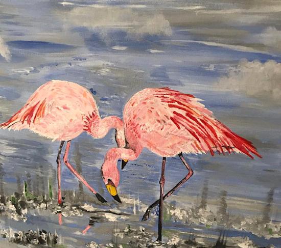 Flamingoes - Birds - Wildlife Acrylic Painting - Fetcham Surrey Artist Erika Perrett