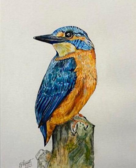 Kingfisher - Watercolour Painting - Fetcham Surey Artist Erika Perrett