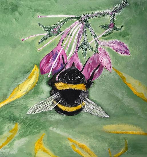 Queen Bee - Insect - Purple Flower - Fetcham Surrey Artist Erika Perrett
