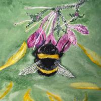 Queen Bee – Insect Art – Purple Flower – Fetcham Surrey Artist Erika Perrett