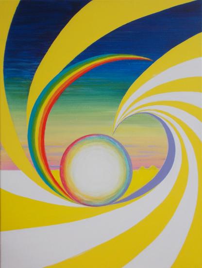 Rainbow Semasphere Acrylic Painting - Artist Simon Oliver