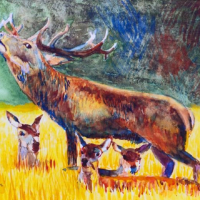 Stag with Fawns – SAA Artist of the Year 2021 – Biggin Hill Kent Artist Richard Waldron