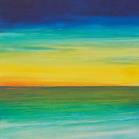 Sunrise Seascape Acrylic Painting – Artist Simon Oliver