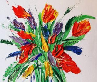 Tulips in Vase - Spring Flowers Original Acrylic Painting - Contemporary Ashtead Artist Shanon King
