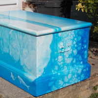 Furniture For Sale – Victorian Wooden Chest – Original Painting in Seascape Imagery of Sea Mammals in Arctic Waters – Surrey Art