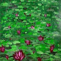 Waterlilies – All Original Acrylic Artwork by Ashtead Surrey Artist Shanon King