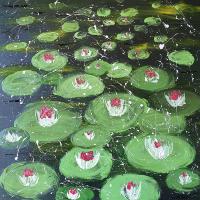 Waterlilies – Original Acrylic Painting – Contemporary Ashtead Artist Shanon King