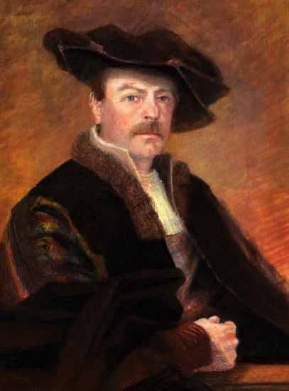 'Comically Rembrandt' Self Portrait - Oil Pastels - Surrey Artist Michael Walsh