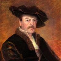 'Comically Rembrandt' Self Portrait – Oil Pastels – Surrey Artist Michael Walsh