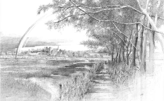 Countryside Scene - Graphite Artwork - Rochester-based SGFA Artist Michael Walsh