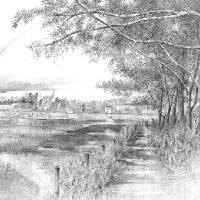Countryside Scene – Graphite Artwork – Rochester-based SGFA Artist Michael Walsh