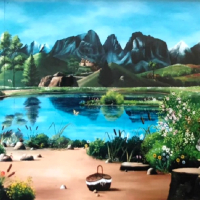 Mural – Lake Trees and Mountains – Guildford Surrey Artist Nathalie Beauvillain Scott