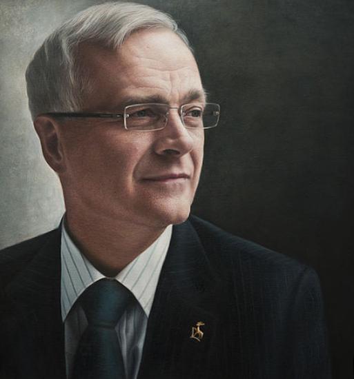 Portrait of Man - Sir Christopher Snowden Guildford Surrey Artist Nathalie Beauvillain Scott