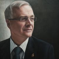 Portrait of Man – Sir Christopher Snowden  Guildford Surrey Artist Nathalie Beauvillain Scott