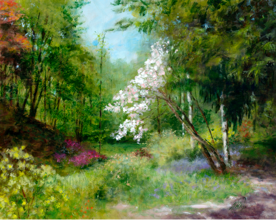 White Rhododendrons - Ramster Garden Chiddingfold - Acrylic Painting - Michael Walsh