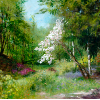 White Rhododendron – Ramster Garden Chiddingfold – Acrylic Painting – Michael Walsh