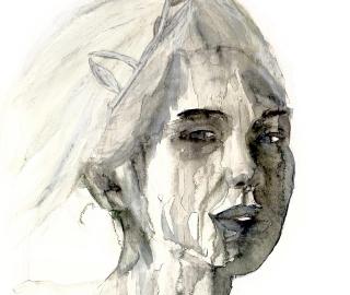 Black & White Portrait of Woman - Contemporary Monochrome Art - Guildford Surrey Artist Aly Lloyd