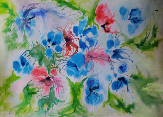 Blue Hydrangea - Summer Flowers - Chobham Art Group Artist Carla Scarano