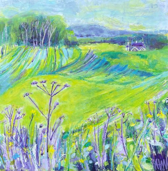 Cow Parsley and Green and Yellow Fields - Horsley and Clandon Society of Arts member Anne Winstanley Wood