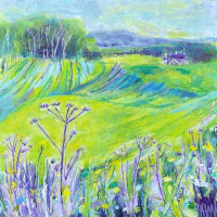 Cow Parsley and Green and Yellow Fields – Box Hill – Horsley and Clandon Society of Arts member Anne Winstanley Wood